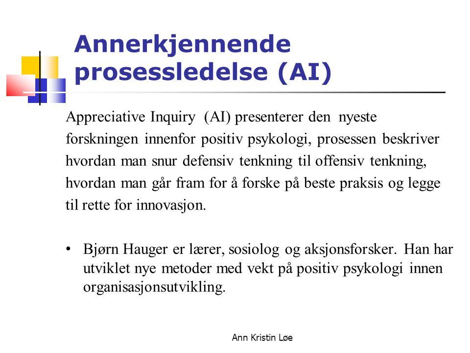 Ann Kristin Løe Annerkjennende prosessledelse (AI) Appreciative Inquiry (AI) presenterer den nyeste forskningen innenfor positiv psykologi, prosessen