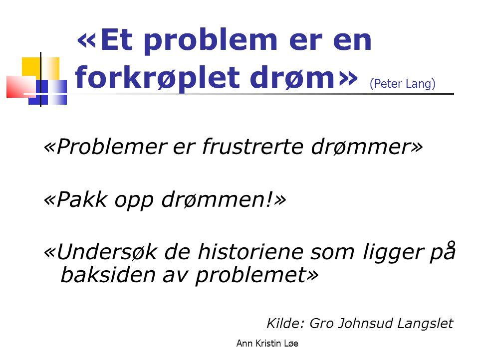 Ann Kristin Løe «Et problem er en forkrøplet drøm» (Peter Lang) «Problemer er frustrerte drømmer» «Pakk opp drømmen!» «Undersøk de historiene som ligg