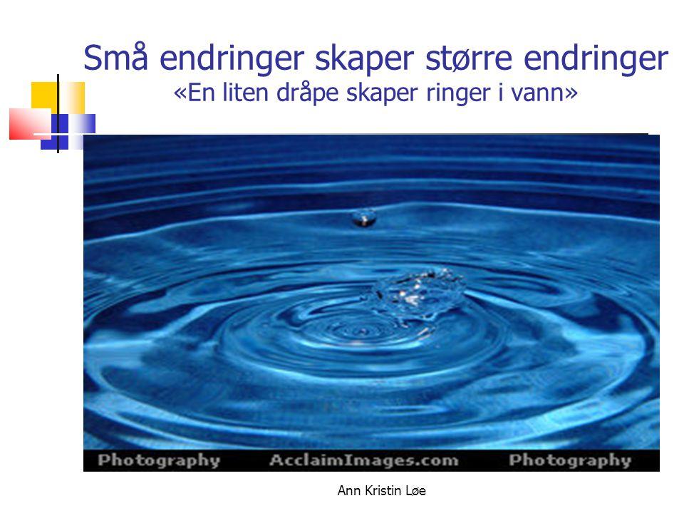 Ann Kristin Løe Små endringer skaper større endringer «En liten dråpe skaper ringer i vann»