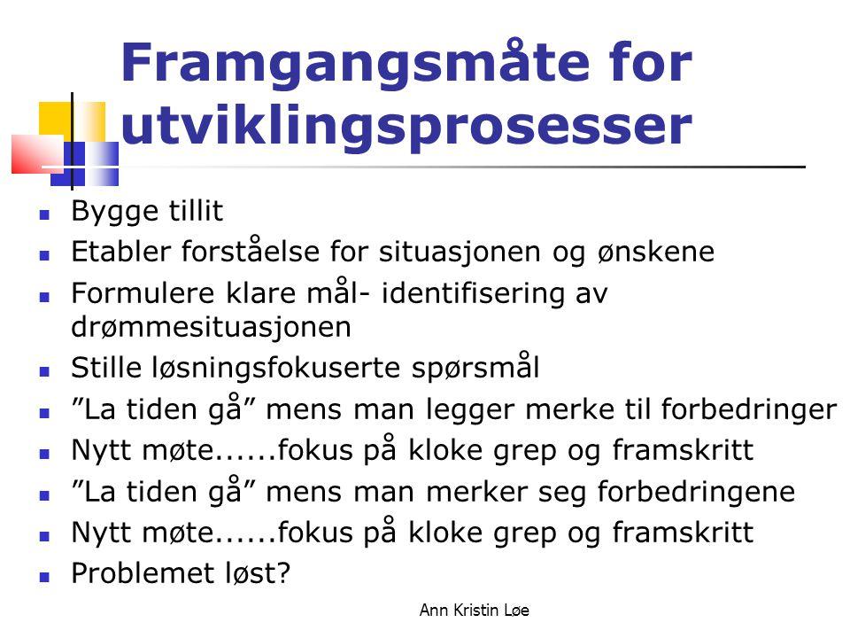 Ann Kristin Løe Framgangsmåte for utviklingsprosesser Bygge tillit Etabler forståelse for situasjonen og ønskene Formulere klare mål- identifisering a