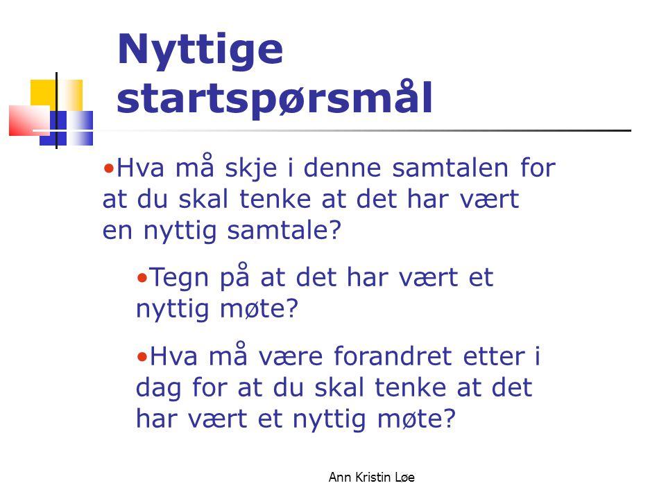 Ann Kristin Løe Hva må skje i denne samtalen for at du skal tenke at det har vært en nyttig samtale? Tegn på at det har vært et nyttig møte? Hva må væ
