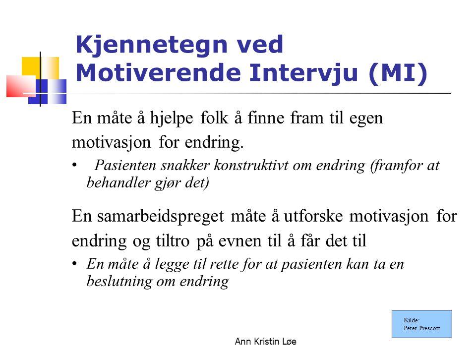 Ann Kristin Løe Kjennetegn ved Motiverende Intervju (MI) En måte å hjelpe folk å finne fram til egen motivasjon for endring. Pasienten snakker konstru