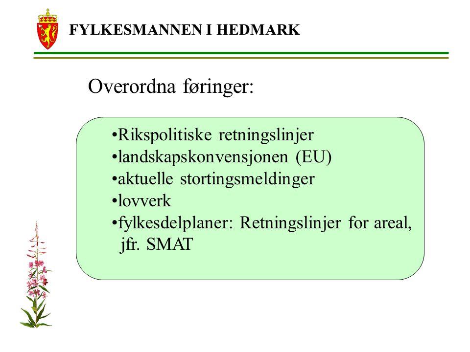 FYLKESMANNEN I HEDMARK Overordna føringer: Rikspolitiske retningslinjer landskapskonvensjonen (EU) aktuelle stortingsmeldinger lovverk fylkesdelplaner: Retningslinjer for areal, jfr.
