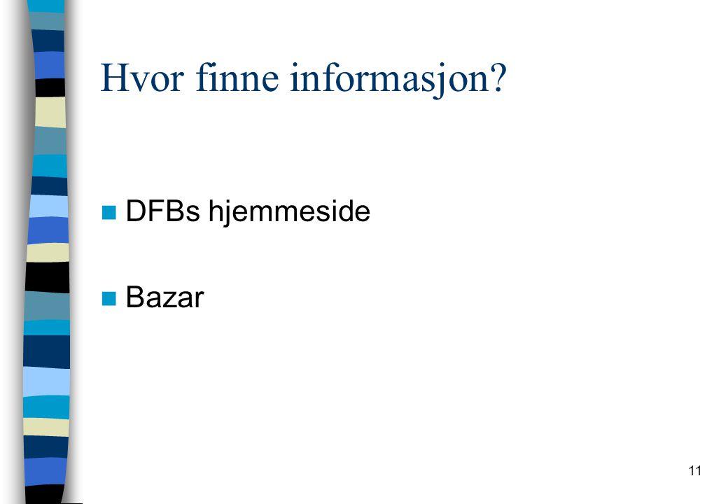 11 Hvor finne informasjon? DFBs hjemmeside Bazar