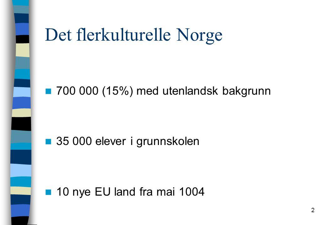 2 Det flerkulturelle Norge 700 000 (15%) med utenlandsk bakgrunn 35 000 elever i grunnskolen 10 nye EU land fra mai 1004