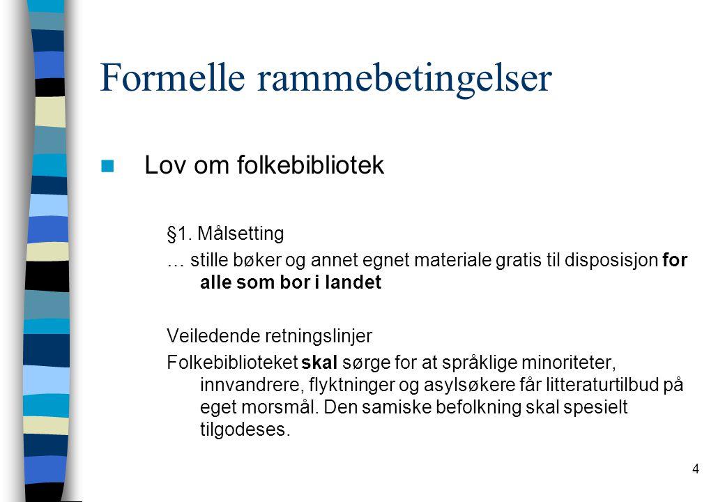 4 Formelle rammebetingelser Lov om folkebibliotek §1. Målsetting … stille bøker og annet egnet materiale gratis til disposisjon for alle som bor i lan