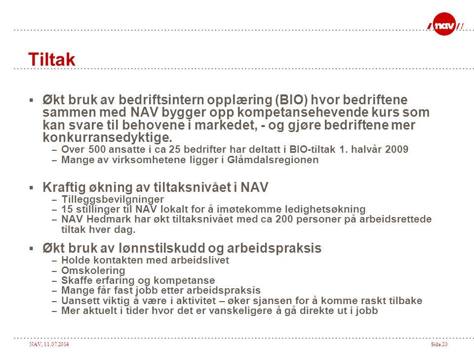 NAV, 11.07.2014Side 20 Tiltak  Økt bruk av bedriftsintern opplæring (BIO) hvor bedriftene sammen med NAV bygger opp kompetansehevende kurs som kan svare til behovene i markedet, - og gjøre bedriftene mer konkurransedyktige.