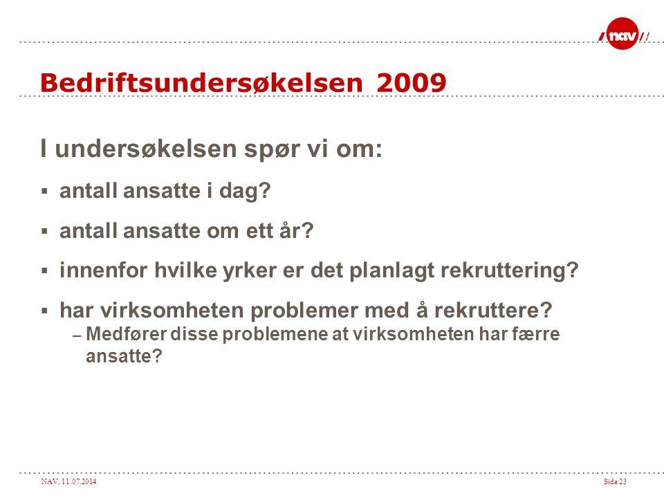 NAV, 11.07.2014Side 23 Bedriftsundersøkelsen 2009 I undersøkelsen spør vi om:  antall ansatte i dag.