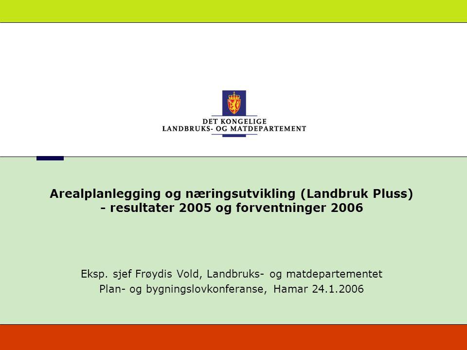 Arealplanlegging og næringsutvikling (Landbruk Pluss) - resultater 2005 og forventninger 2006 Eksp. sjef Frøydis Vold, Landbruks- og matdepartementet