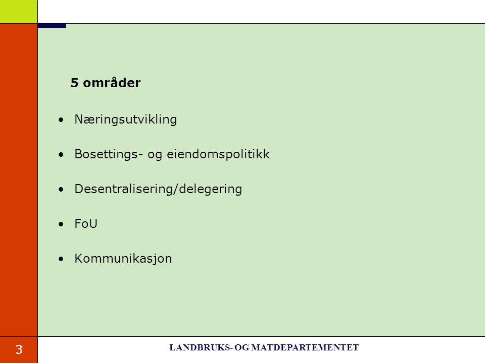 3 5 områder Næringsutvikling Bosettings- og eiendomspolitikk Desentralisering/delegering FoU Kommunikasjon LANDBRUKS- OG MATDEPARTEMENTET