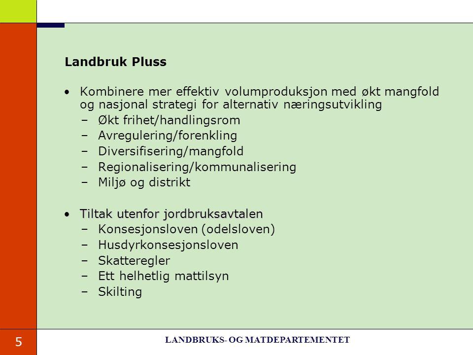 5 Landbruk Pluss Kombinere mer effektiv volumproduksjon med økt mangfold og nasjonal strategi for alternativ næringsutvikling –Økt frihet/handlingsrom