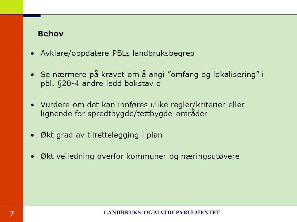 """7 Behov Avklare/oppdatere PBLs landbruksbegrep Se nærmere på kravet om å angi """"omfang og lokalisering"""" i pbl. §20-4 andre ledd bokstav c Vurdere om de"""