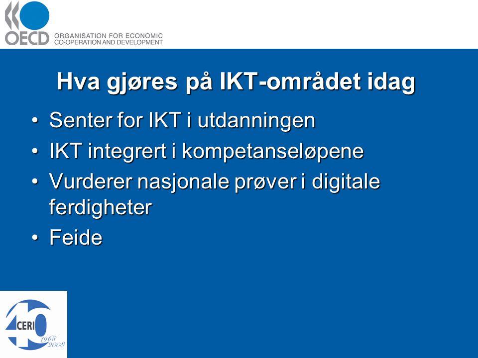 Hva gjøres på IKT-området idag Senter for IKT i utdanningenSenter for IKT i utdanningen IKT integrert i kompetanseløpeneIKT integrert i kompetanseløpene Vurderer nasjonale prøver i digitale ferdigheterVurderer nasjonale prøver i digitale ferdigheter FeideFeide