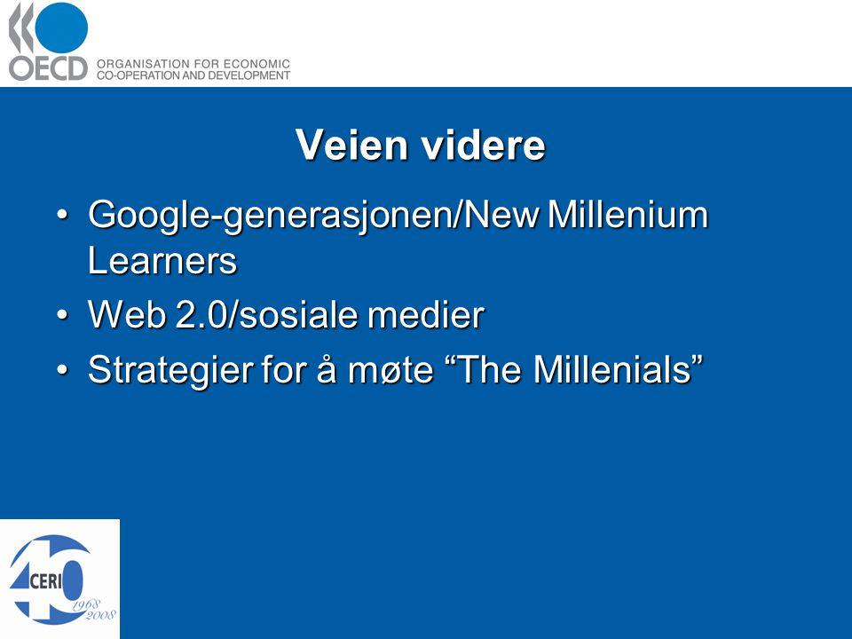 Veien videre Google-generasjonen/New Millenium LearnersGoogle-generasjonen/New Millenium Learners Web 2.0/sosiale medierWeb 2.0/sosiale medier Strategier for å møte The Millenials Strategier for å møte The Millenials