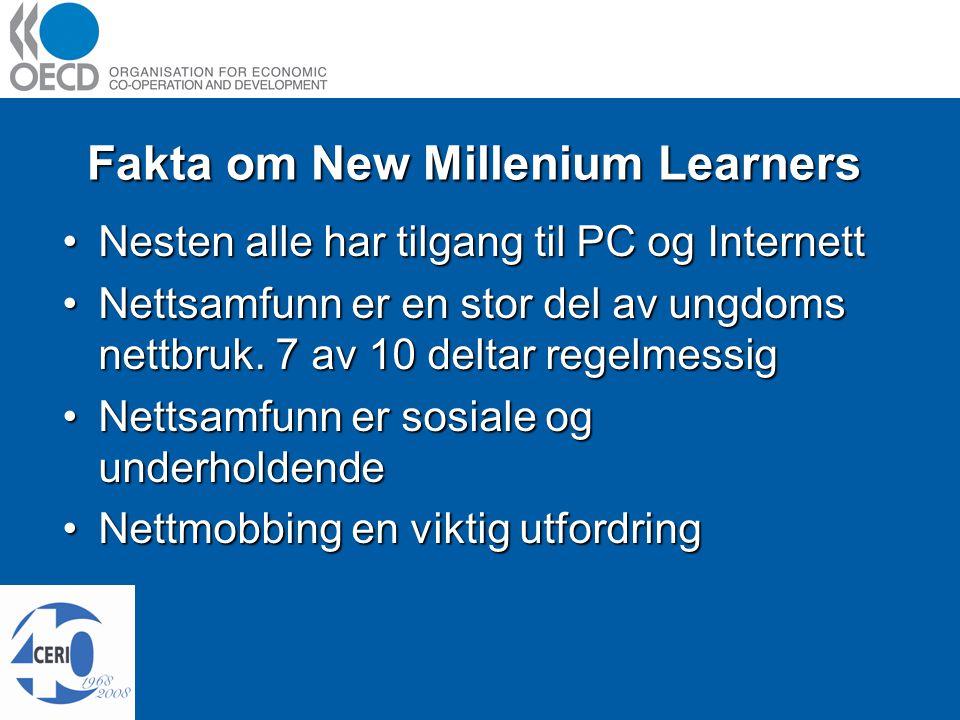 Fakta om New Millenium Learners Nesten alle har tilgang til PC og InternettNesten alle har tilgang til PC og Internett Nettsamfunn er en stor del av ungdoms nettbruk.