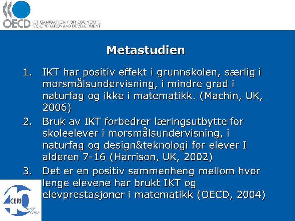 Metastudien 1.IKT har positiv effekt i grunnskolen, særlig i morsmålsundervisning, i mindre grad i naturfag og ikke i matematikk.
