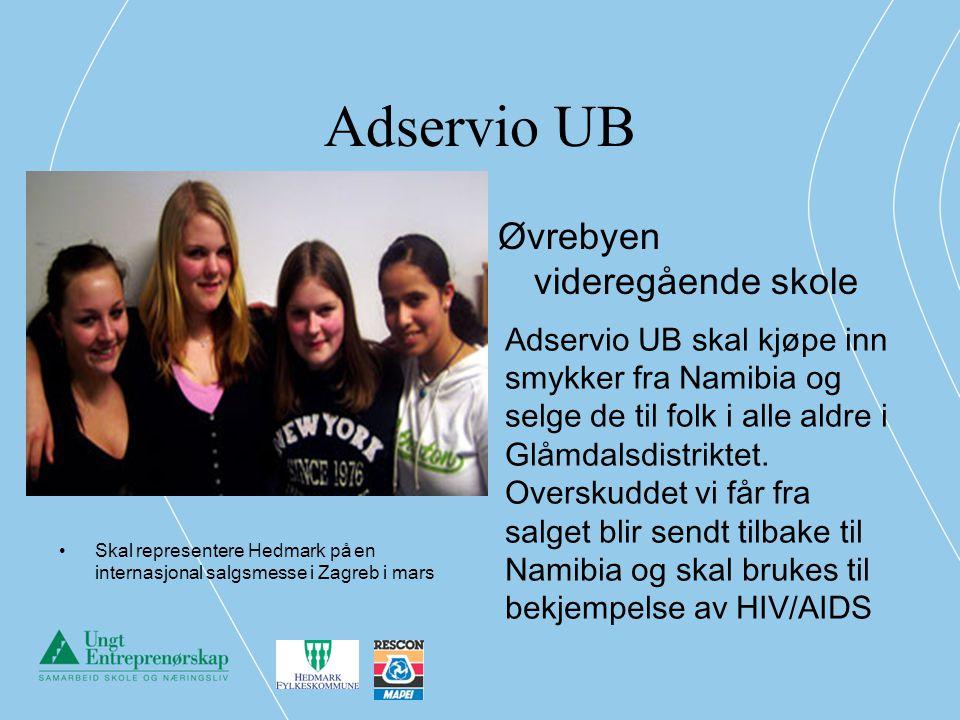 Adservio UB Skal representere Hedmark på en internasjonal salgsmesse i Zagreb i mars Øvrebyen videregående skole Adservio UB skal kjøpe inn smykker fr