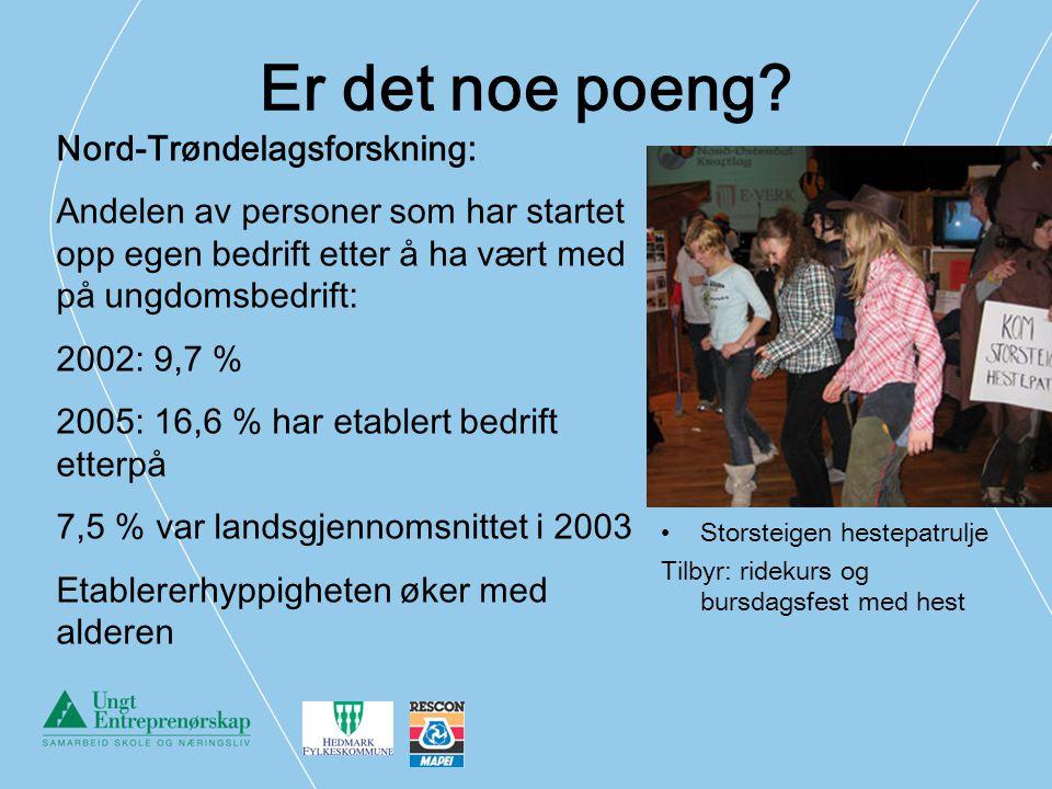 Er det noe poeng? Storsteigen hestepatrulje Tilbyr: ridekurs og bursdagsfest med hest Nord-Trøndelagsforskning: Andelen av personer som har startet op