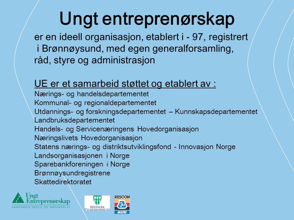 Ungt entreprenørskap er en ideell organisasjon, etablert i - 97, registrert i Brønnøysund, med egen generalforsamling, råd, styre og administrasjon UE