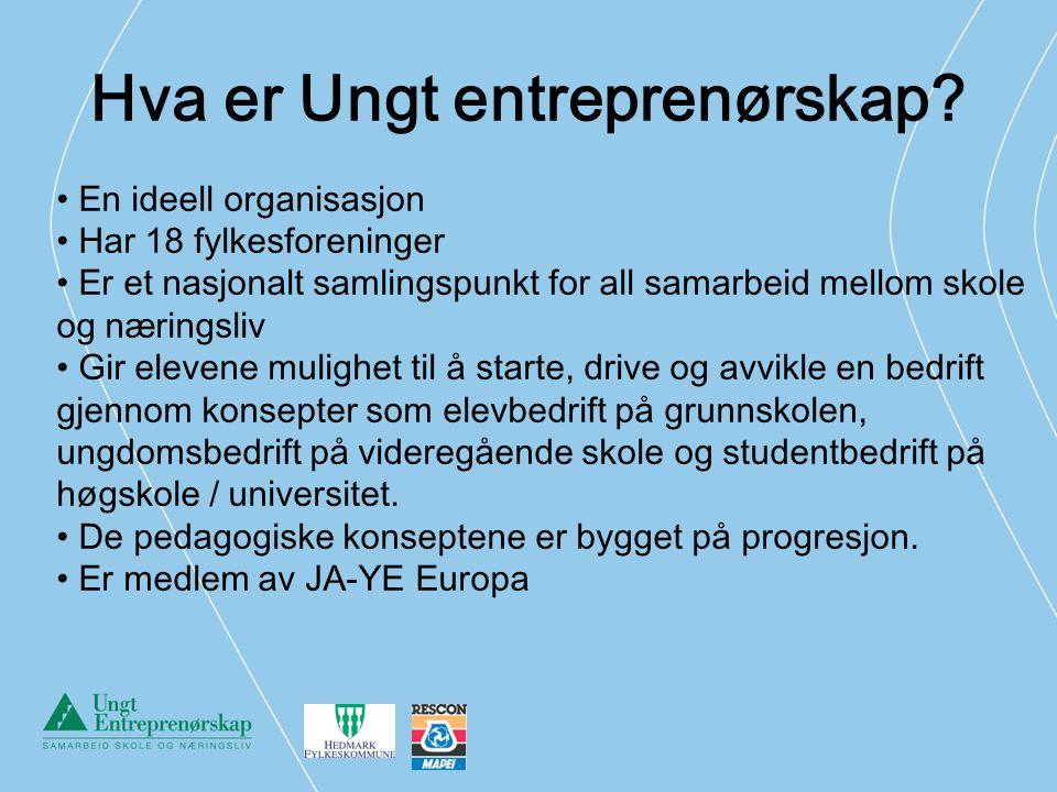Hva er Ungt entreprenørskap? En ideell organisasjon Har 18 fylkesforeninger Er et nasjonalt samlingspunkt for all samarbeid mellom skole og næringsliv