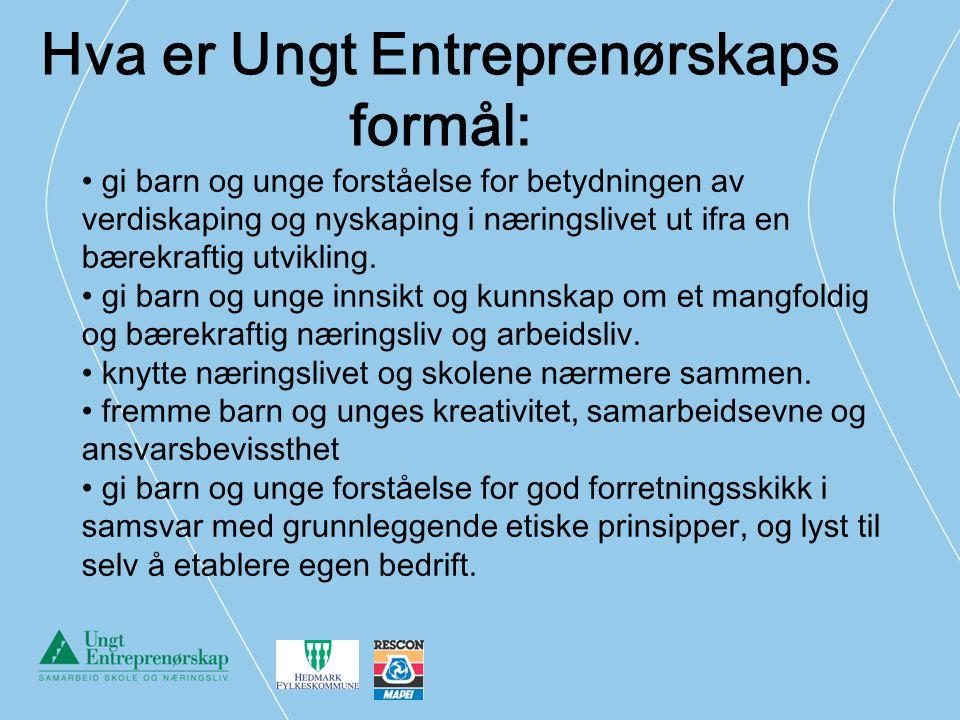 Hva er Ungt Entreprenørskaps formål: gi barn og unge forståelse for betydningen av verdiskaping og nyskaping i næringslivet ut ifra en bærekraftig utv