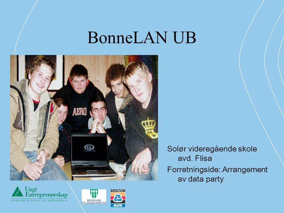 BonneLAN UB Solør videregående skole avd. Flisa Forretningside: Arrangement av data party