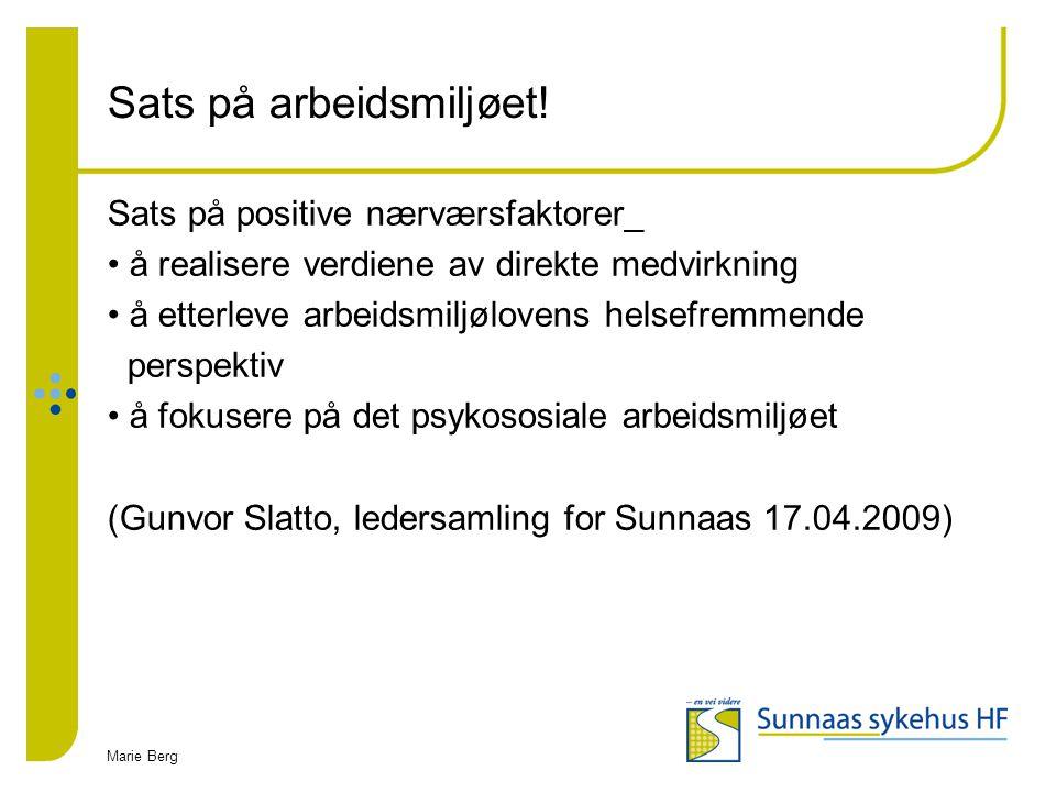 Marie Berg Sats på arbeidsmiljøet! Sats på positive nærværsfaktorer_ å realisere verdiene av direkte medvirkning å etterleve arbeidsmiljølovens helsef