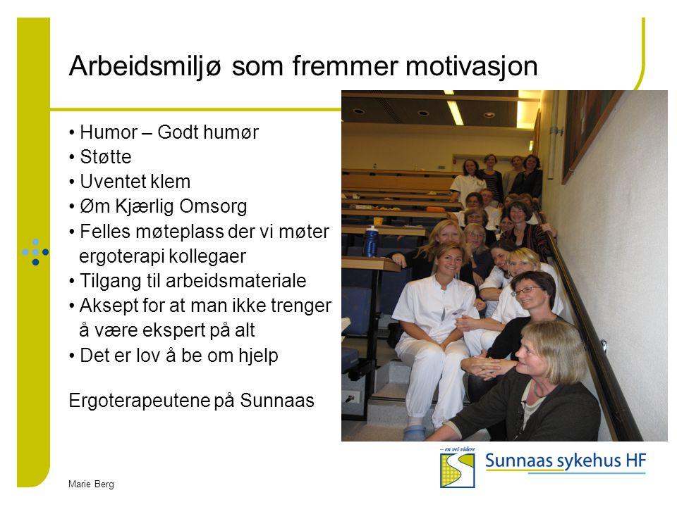 Marie Berg Arbeidsmiljø som fremmer motivasjon Humor – Godt humør Støtte Uventet klem Øm Kjærlig Omsorg Felles møteplass der vi møter ergoterapi kolle