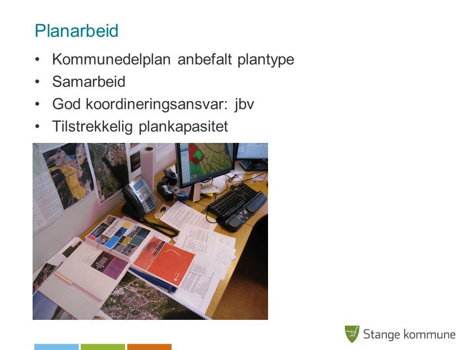 Planarbeid Kommunedelplan anbefalt plantype Samarbeid God koordineringsansvar: jbv Tilstrekkelig plankapasitet