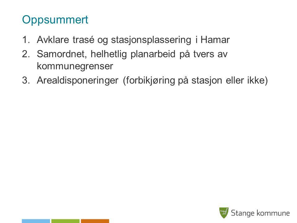 Oppsummert 1.Avklare trasé og stasjonsplassering i Hamar 2.Samordnet, helhetlig planarbeid på tvers av kommunegrenser 3.Arealdisponeringer (forbikjøring på stasjon eller ikke)