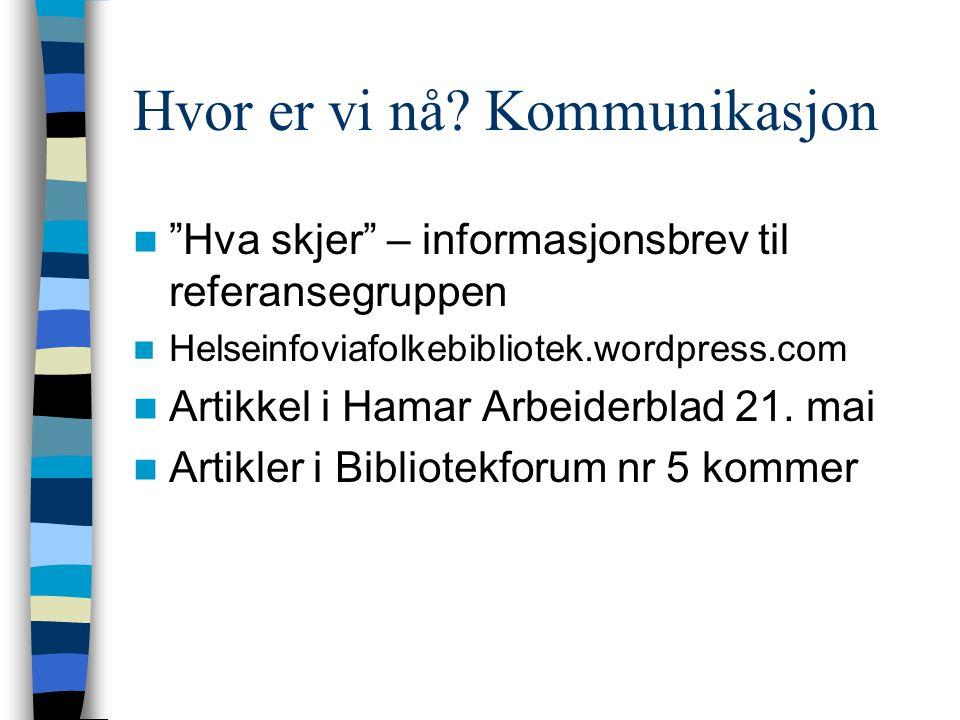 """Hvor er vi nå? Kommunikasjon """"Hva skjer"""" – informasjonsbrev til referansegruppen Helseinfoviafolkebibliotek.wordpress.com Artikkel i Hamar Arbeiderbla"""
