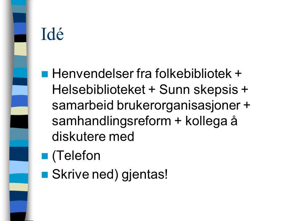 Interessenter Fylkesbibliotekene Helsebiblioteket Høgskolene Sykehuset Innlandet Representanter for kommunehelsetjenesten Telefon + skrive ned
