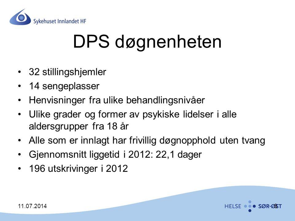 DPS døgnenheten 32 stillingshjemler 14 sengeplasser Henvisninger fra ulike behandlingsnivåer Ulike grader og former av psykiske lidelser i alle alders