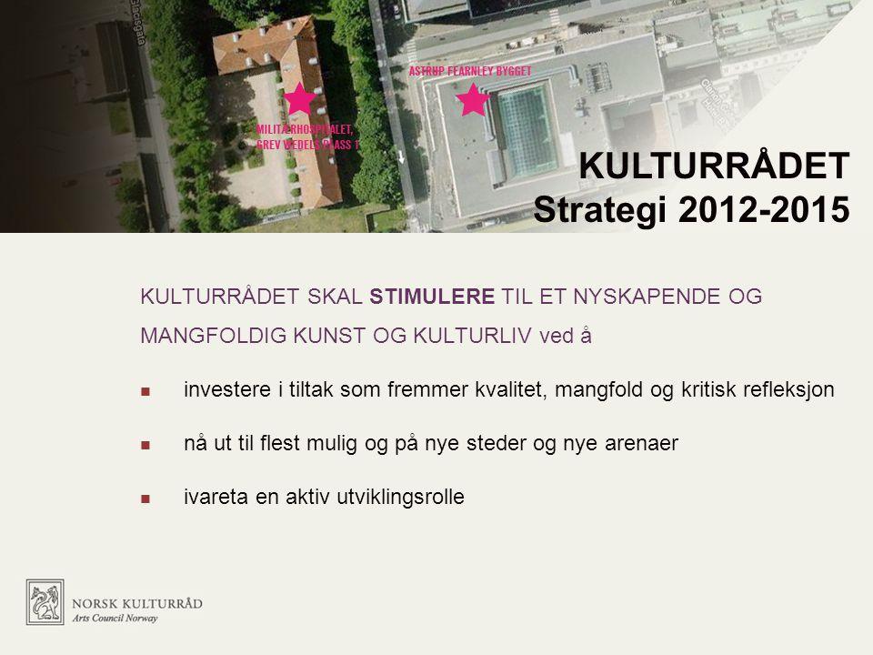 KULTURRÅDET SKAL STIMULERE TIL ET NYSKAPENDE OG MANGFOLDIG KUNST OG KULTURLIV ved å investere i tiltak som fremmer kvalitet, mangfold og kritisk refleksjon nå ut til flest mulig og på nye steder og nye arenaer ivareta en aktiv utviklingsrolle KULTURRÅDET Strategi 2012-2015