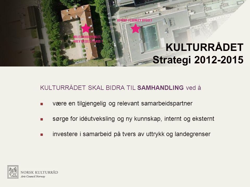 KULTURRÅDET SKAL BIDRA TIL SAMHANDLING ved å være en tilgjengelig og relevant samarbeidspartner sørge for idéutveksling og ny kunnskap, internt og eksternt investere i samarbeid på tvers av uttrykk og landegrenser KULTURRÅDET Strategi 2012-2015