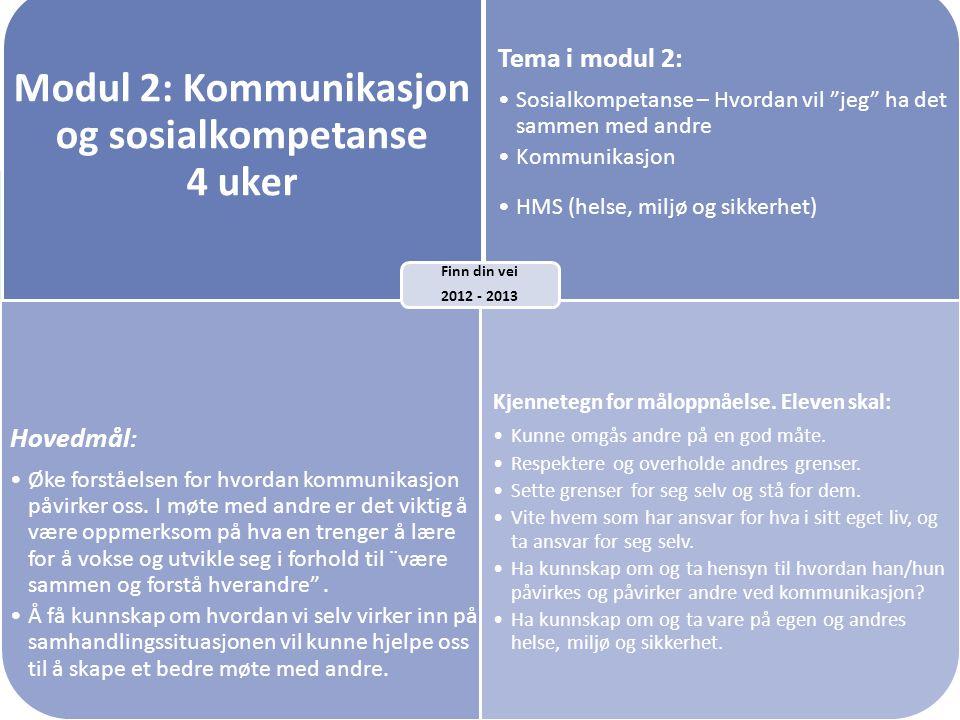 """Modul 2: Kommunikasjon og sosialkompetanse 4 uker Tema i modul 2: Sosialkompetanse – Hvordan vil """"jeg"""" ha det sammen med andre Kommunikasjon HMS (hels"""