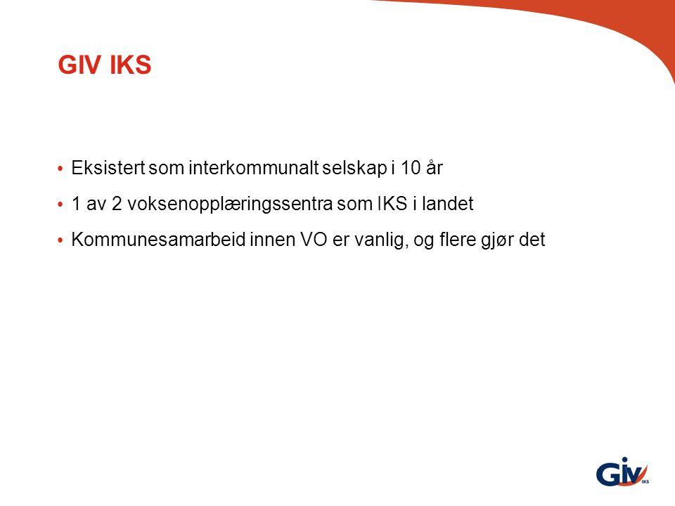 GIV IKS Eksistert som interkommunalt selskap i 10 år 1 av 2 voksenopplæringssentra som IKS i landet Kommunesamarbeid innen VO er vanlig, og flere gjør