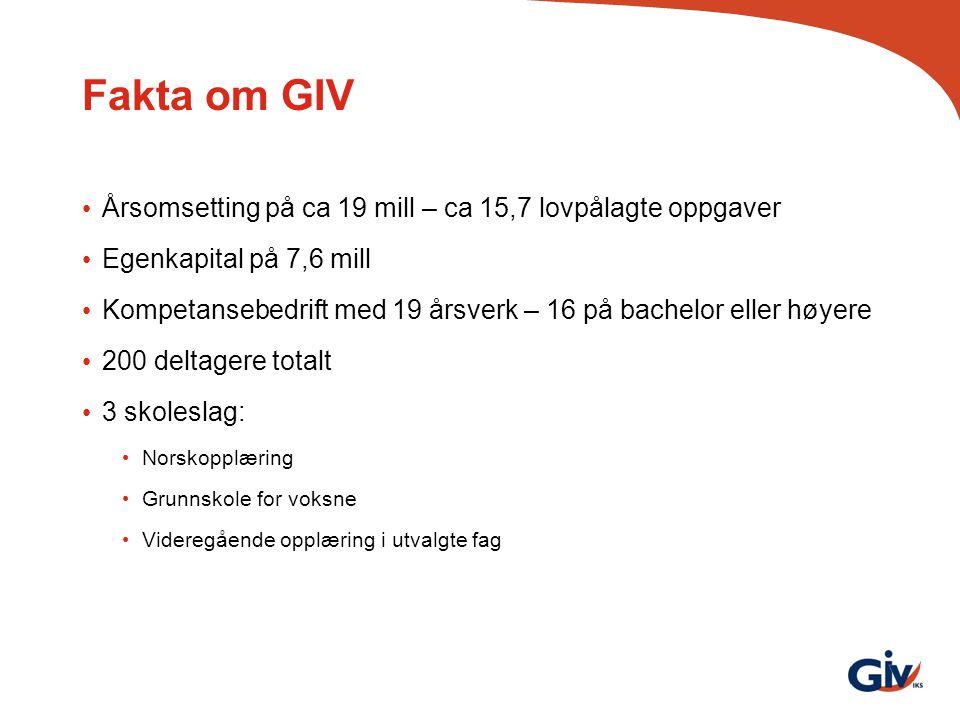 Fakta om GIV Årsomsetting på ca 19 mill – ca 15,7 lovpålagte oppgaver Egenkapital på 7,6 mill Kompetansebedrift med 19 årsverk – 16 på bachelor eller