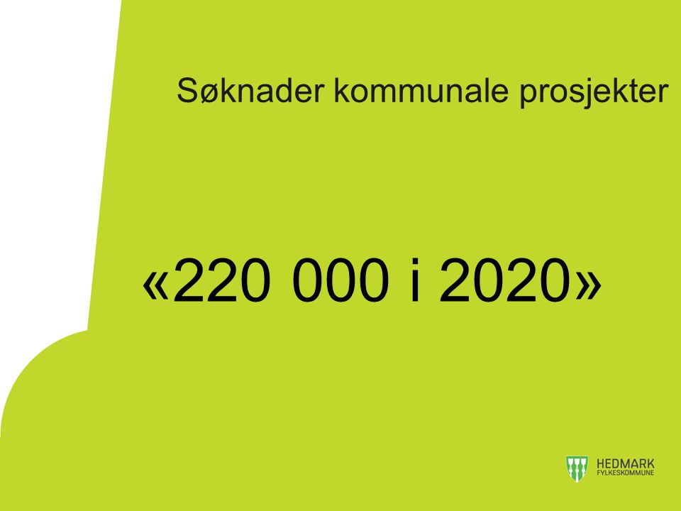 Søknader kommunale prosjekter «220 000 i 2020»