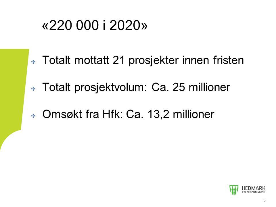 2 ✤ Totalt mottatt 21 prosjekter innen fristen ✤ Totalt prosjektvolum: Ca. 25 millioner ✤ Omsøkt fra Hfk: Ca. 13,2 millioner 2