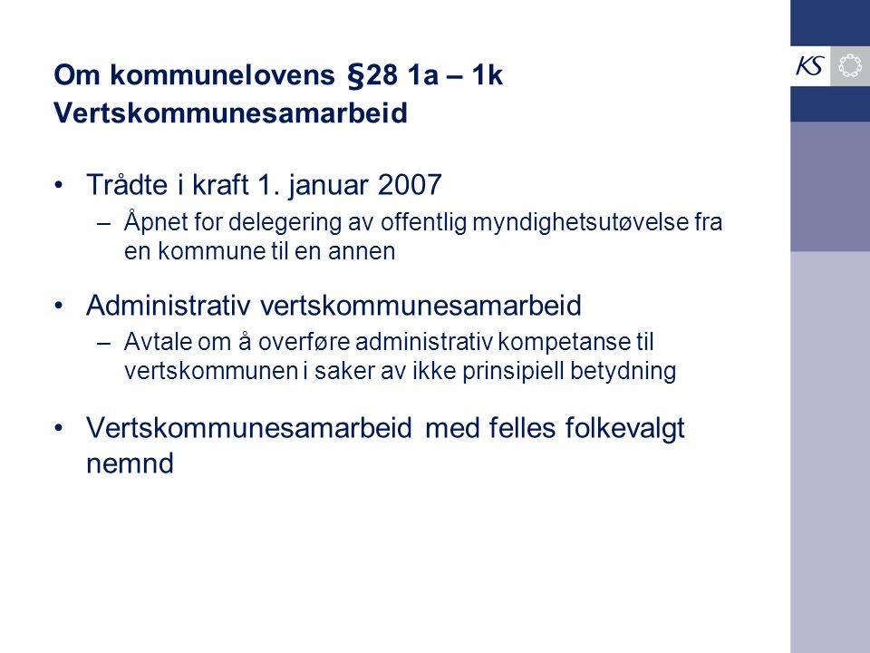 Om kommunelovens §28 1a – 1k Vertskommunesamarbeid Trådte i kraft 1. januar 2007 –Åpnet for delegering av offentlig myndighetsutøvelse fra en kommune