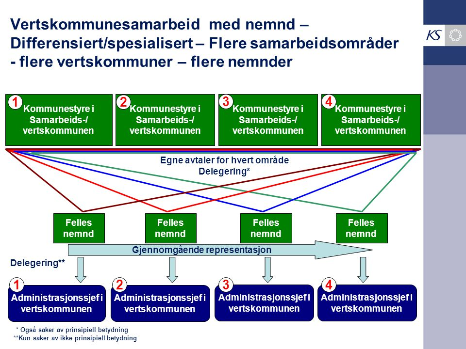 Vertskommunesamarbeid med nemnd – Differensiert/spesialisert – Flere samarbeidsområder - flere vertskommuner – flere nemnder Kommunestyre i Samarbeids