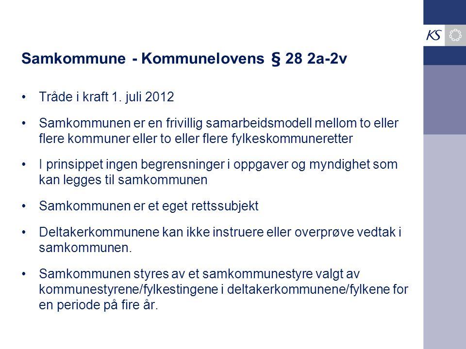 Samkommune - Kommunelovens § 28 2a-2v Tråde i kraft 1. juli 2012 Samkommunen er en frivillig samarbeidsmodell mellom to eller flere kommuner eller to