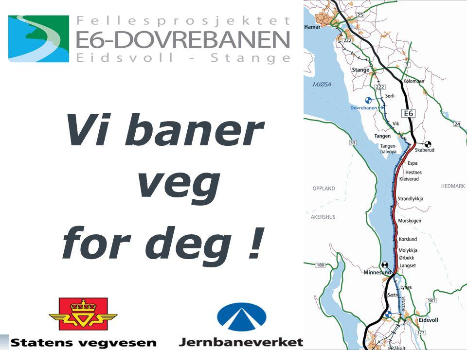 Fellesprosjektet Reduserer avstanden, øker vekstkraften Full utbygging til Hamar Reisetid tog: 55 min.