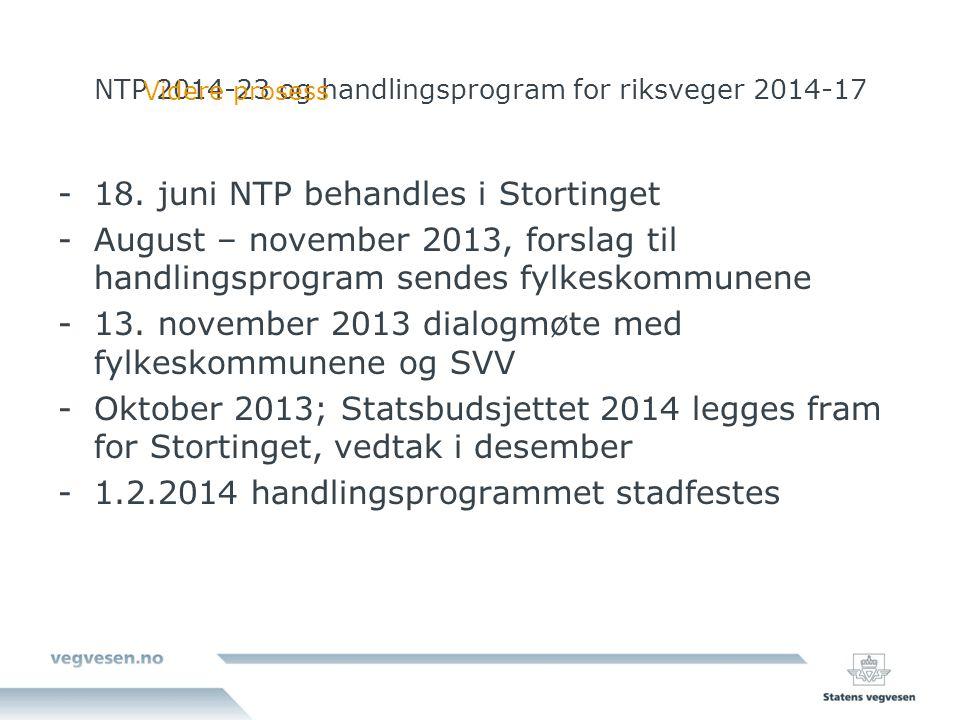 NTP 2014-23 og handlingsprogram for riksveger 2014-17 -18. juni NTP behandles i Stortinget -August – november 2013, forslag til handlingsprogram sende