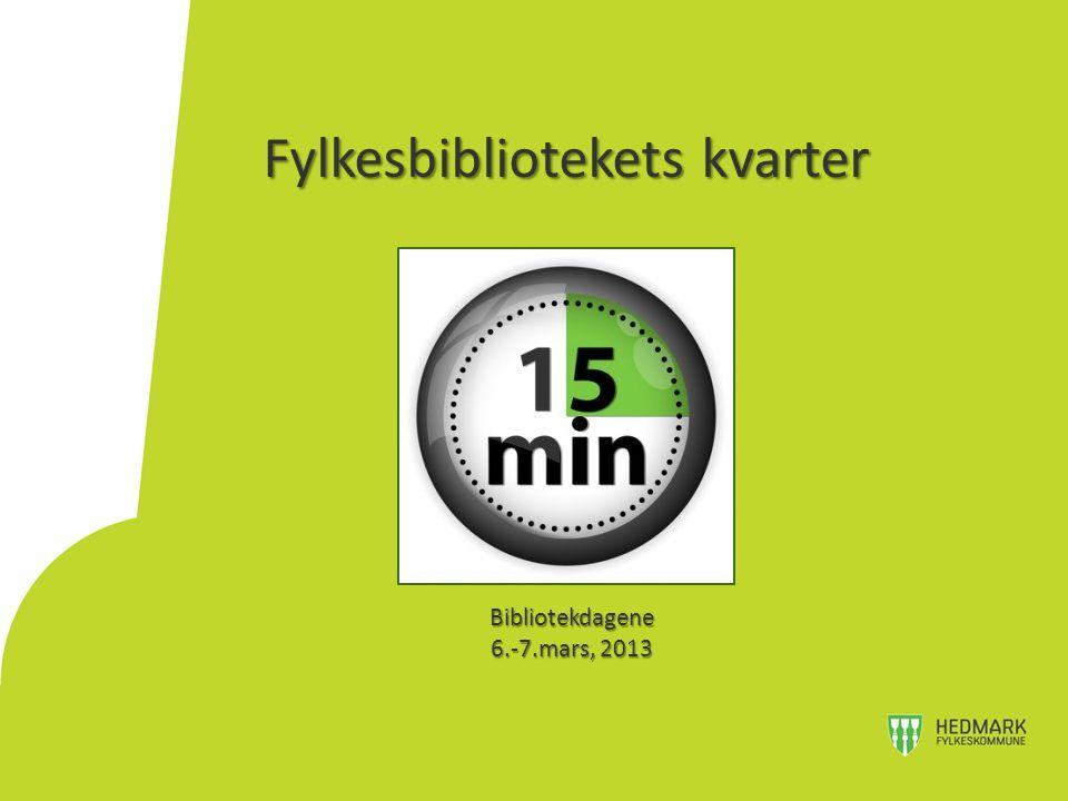 Fylkesbibliotekets kvarter Bibliotekdagene 6.-7.mars, 2013