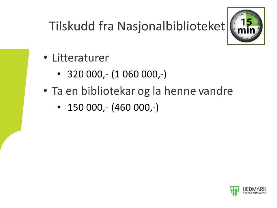 Litteraturer 320 000,- (1 060 000,-) Ta en bibliotekar og la henne vandre 150 000,- (460 000,-) Tilskudd fra Nasjonalbiblioteket