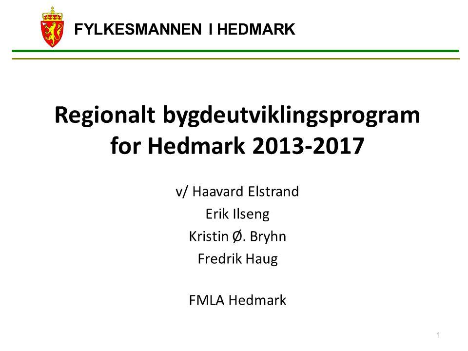 FYLKESMANNEN I HEDMARK Regionalt bygdeutviklingsprogram for Hedmark 2013-2017 v/ Haavard Elstrand Erik Ilseng Kristin Ø. Bryhn Fredrik Haug FMLA Hedma