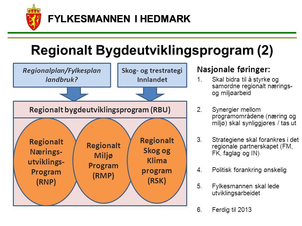 Regionalt Bygdeutviklingsprogram (2) FYLKESMANNEN I HEDMARK Regionalt Nærings- utviklings- Program (RNP) Regionalt Miljø Program (RMP) Regionalt Skog og Klima program (RSK) Regionalplan/Fylkesplan landbruk.
