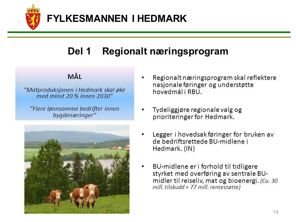 FYLKESMANNEN I HEDMARK Regionalt næringsprogram skal reflektere nasjonale føringer og understøtte hovedmål i RBU. Tydeliggjøre regionale valg og prior